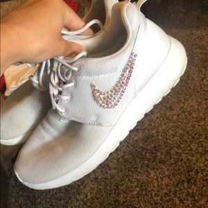 Nike Shoes - White bedazzled Nike roshes!